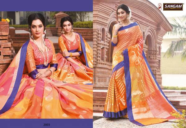 Sangam Kangana Latest Fancy Designer Silk Saree Festive Wear Saree Collection