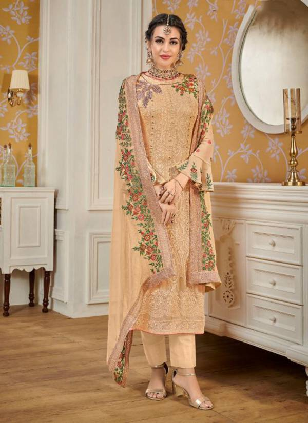 Eba Lifestyle Hurma Vol 12 Faux Georgette With Heavy Embroidery Work Top And Dupatta salwar Suit