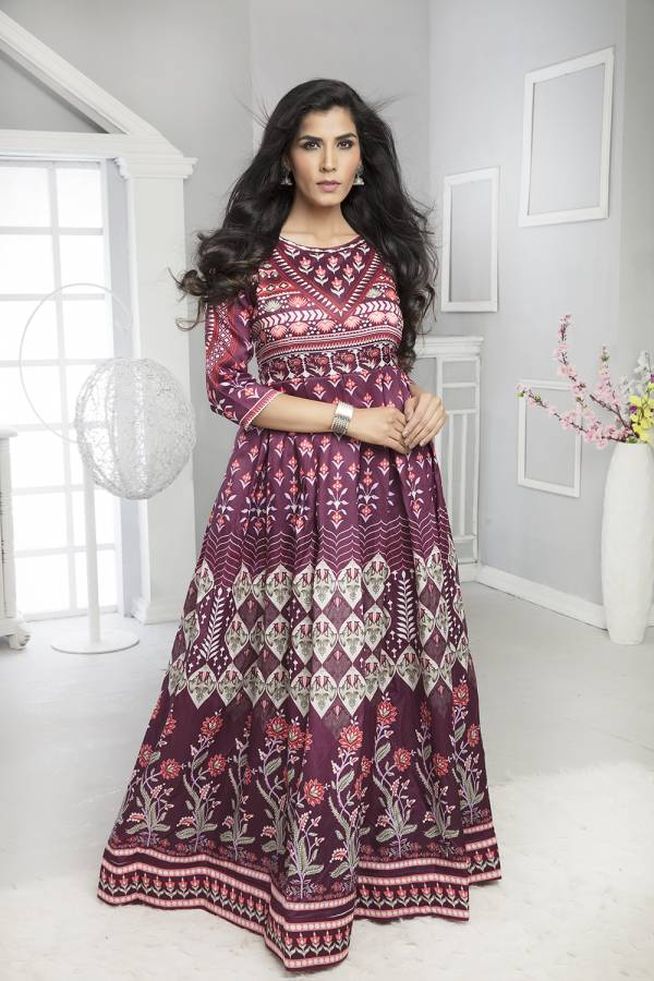 Libaaz Latest Fancy Taffeta Silk, Twirl Silk With Embroidery And Digital Printed Gown Collection