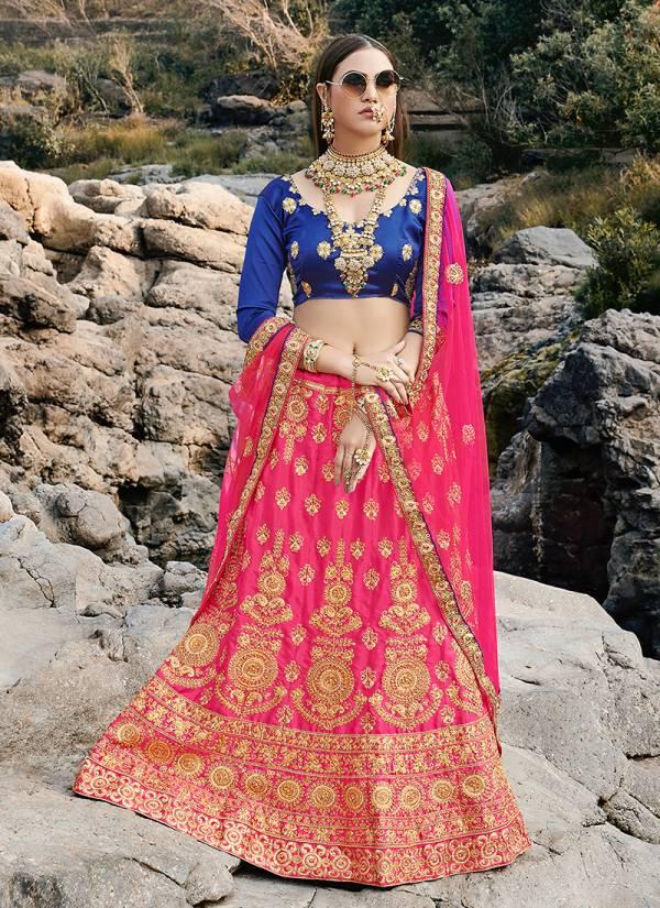 Heavy Designer Bridal Satin Silk With Net Dupatta Embroidery Work Lehenga Choli Collection