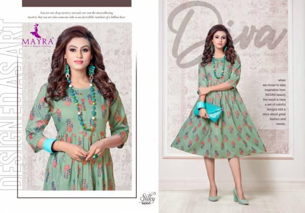 Mayra Silky Ethnic Party Wear Latest Designer Anarkali Rayon Kurti Collection