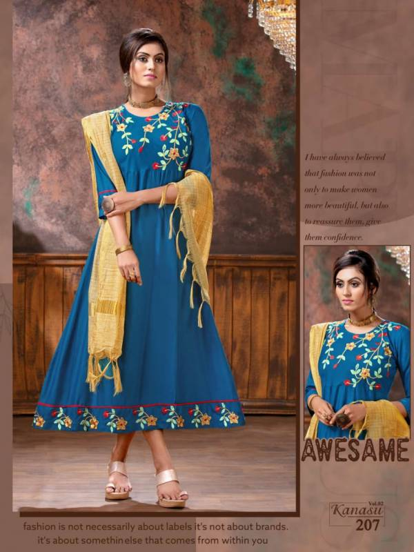 Kanasu Vol 2 Latest Designer Party Wear Anarkali Style Kurti With Dupatta