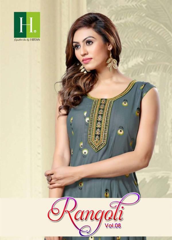 Hirwa Rangoli 8 Latest fancy designer Casual wear Anarkali Embroidery Kurtis Collection