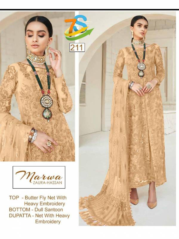 Marwa-207 Series Designer Butterfly Net With Heavy Embroidery Work And Net Dupatta Heavy-  Embroidered Work-
