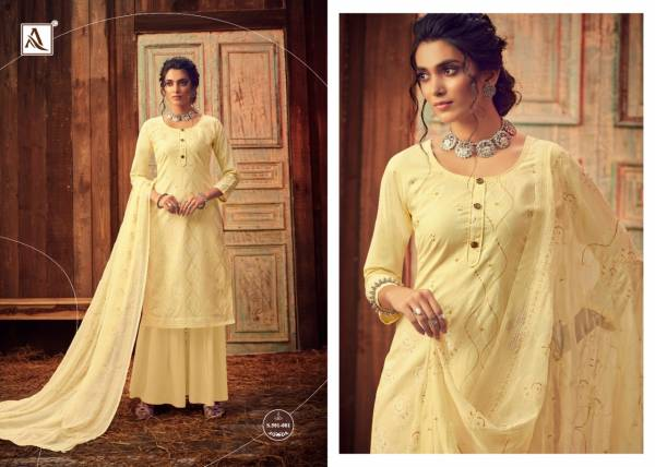 Alok Bloom Gold 2 Pure Lawn Cotton Designer Dress Material