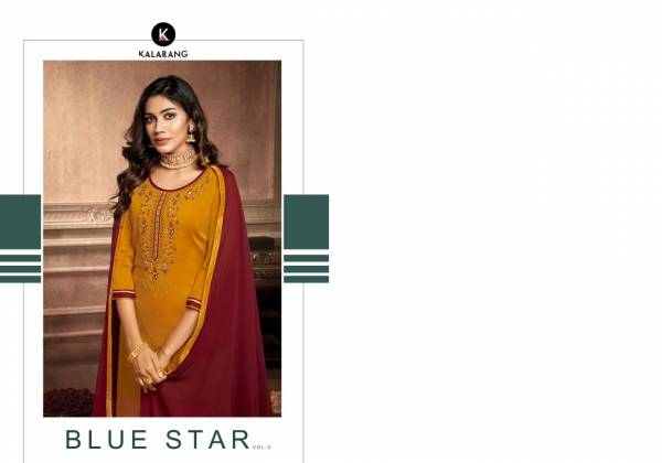 Kalarang Blue Star Vol-2 Cotton Silk With Embroidery And Sarvoski Diamond Work Chinon With Border  Pakistani Salwar Suit
