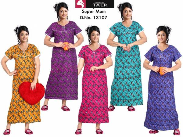 Ft 13107 Nighty Western Latest Collection Of Printed Pure Cotton Night Wear