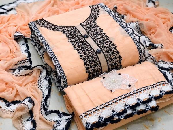 Exclusive Fancy Cotton Dress Material Collection With Beautiful Lace Design and Four Sided Lace Bordered Dupatta