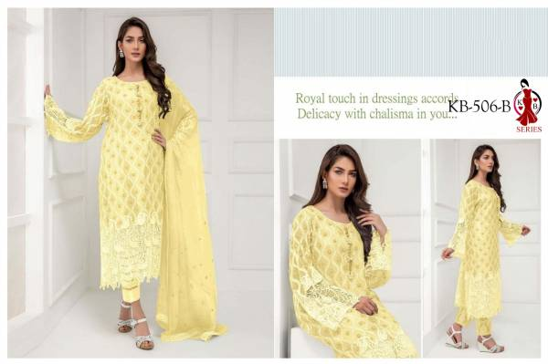 KB Latest Designer Collection of Full Embroidery Work Heavy Faux Georgette Salwar Suit Collection
