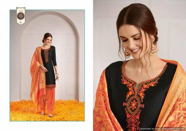 Kalaroop New Launch Of Designer Embroidered Work With Slub Rayon Bottom And Banarasi Silk Dupatta Ready Made Patiala