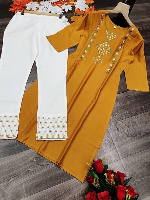 Silk 5 Rayon Latest Fancy Regular Casual Wear Khadi Work Kurtis With Bottom Collection
