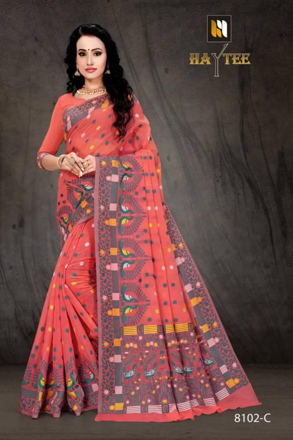 Haytee Bomkai 8102 New Launch Of Designer Daily Wear Cotton Silk Saree Collection With Beautiful Print