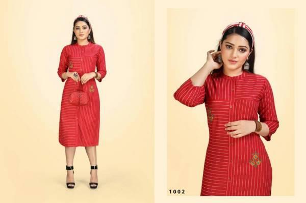 Trendy Row Cotton Flex Latest Fancy Designer Heavy Stripes  Designer Kurtis Collection