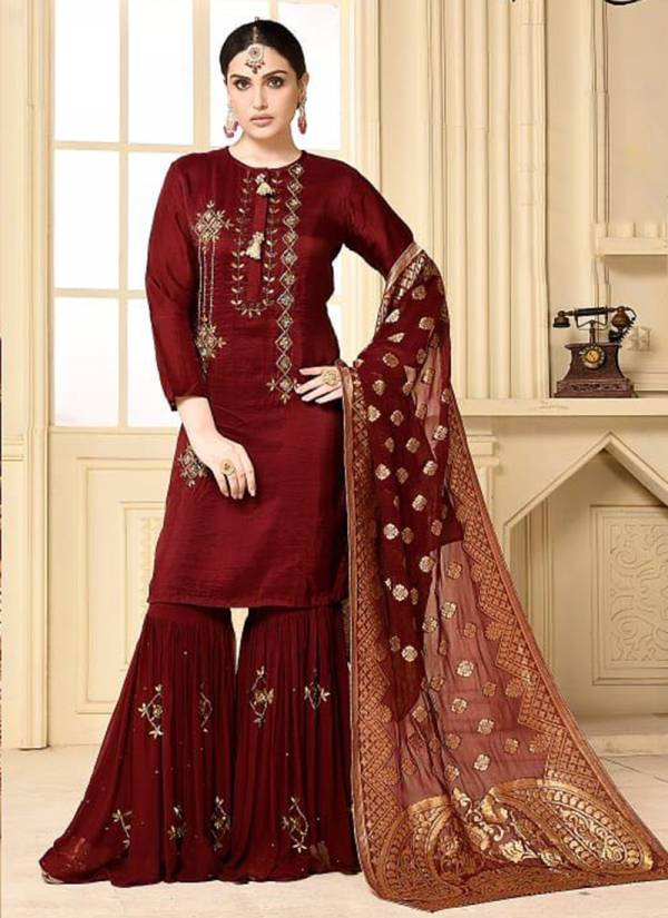 Zaraa Rangoli Georgette Designer Party Wear Sharara Suit with Banarsi Dupatta Collection