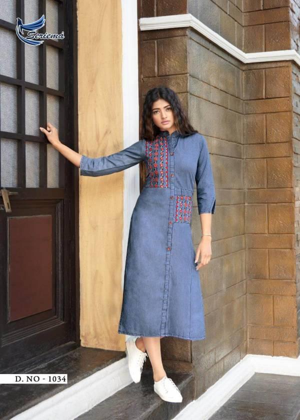 Seriema Kumb Premier Latest Fancy Designer Cotton Denim Long Heavy Kurtis Collection