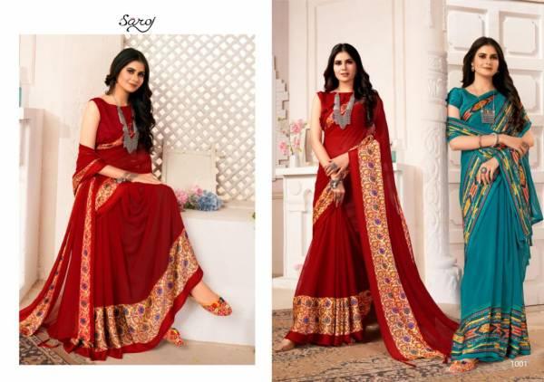 Saroj Suhani Soft Georgette Heavy Ethnic Wear Designer Printed Saree Collection