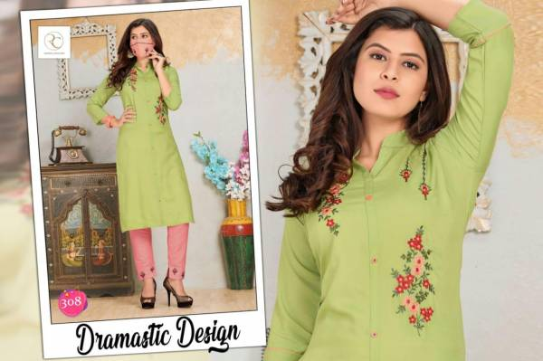 Rc Lichi 2 Latest Designer Straight Neck Mirror Embroidery Work Style Kurti With Bottom Collection