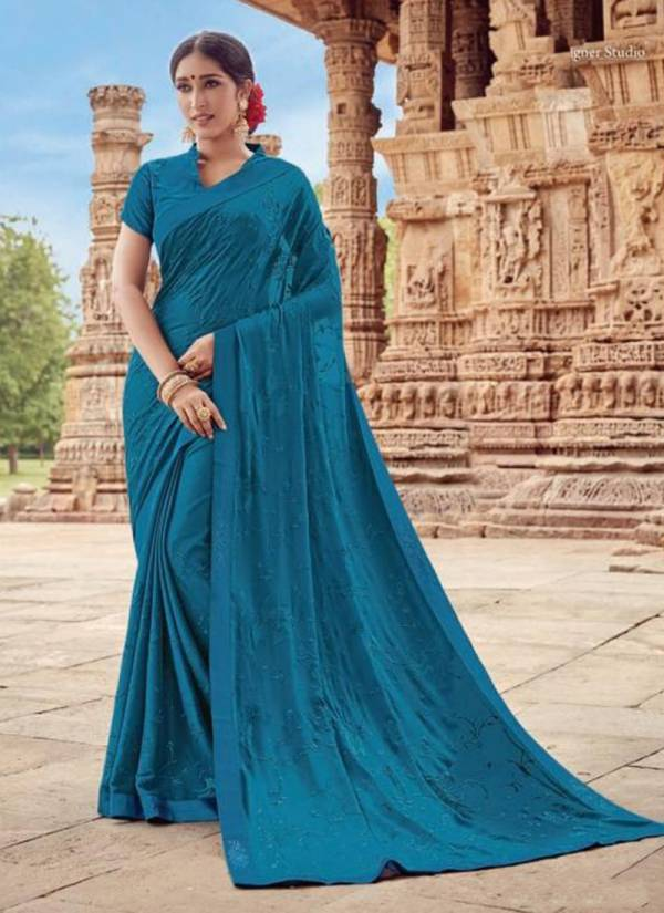 Latest Designer Saree Collection With Fancy Border and Beautiful Embroidery Work