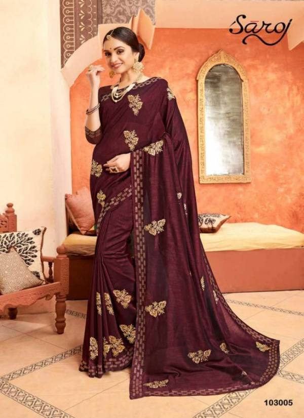Designer Party Wear Bridal Vichitra Saree Collection With Embroidery Work and Beautiful Design Border