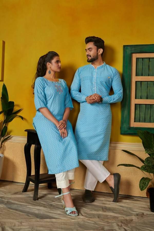 Ram-Leela Couple Combo Of Kurta With Pants And Kurti With Pants