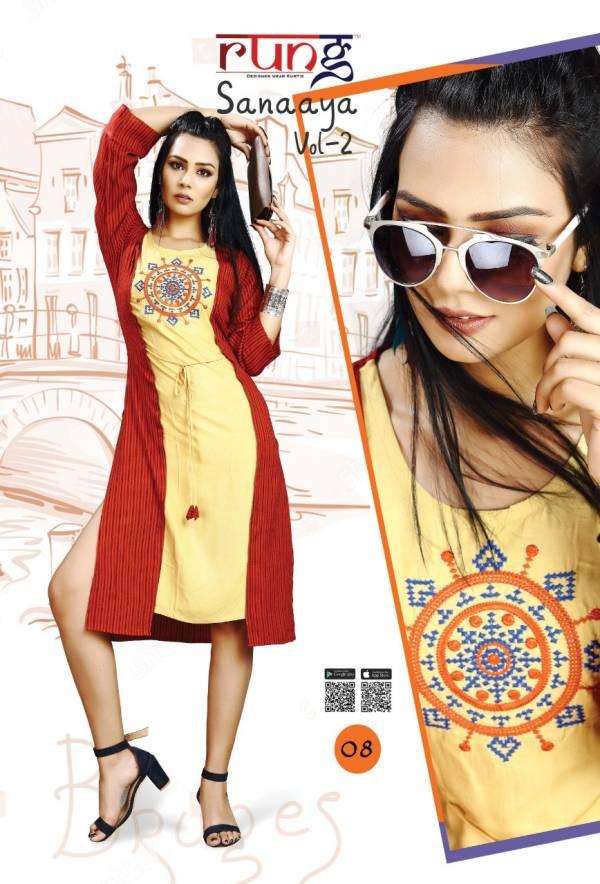 Rung Sanaaya Vol 2 Latest Designer Casual Wear Kurtis Collection With Beautiful Work