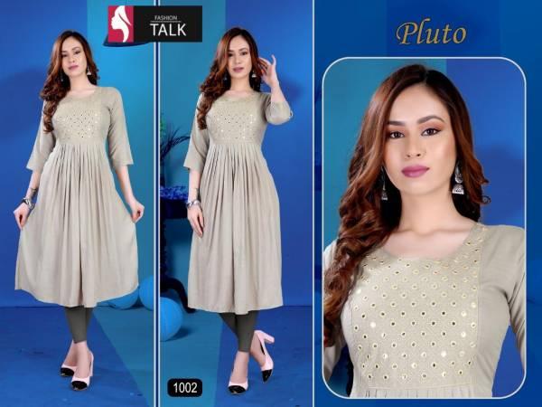 Ft Pluto Flair Style Designer Latest Fancy Festive Wear Rayon Slub Kurtis Collection