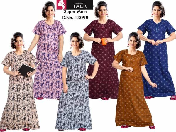 Ft 13098 New Collection Of Western Pure Cotton Nightsuits Gown Maxi Collection