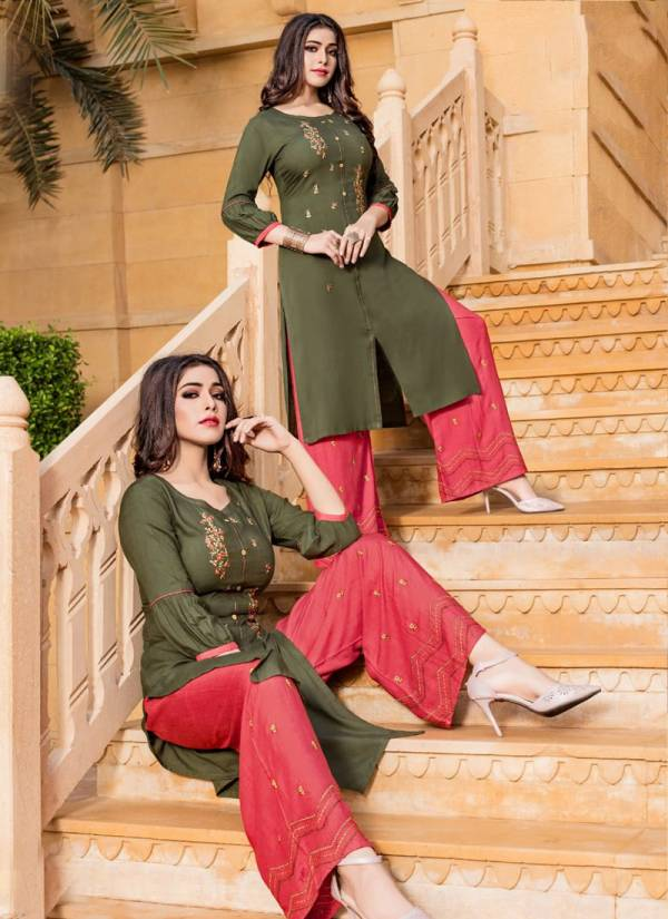 Chemistry Rayon Designer Embroidered Party Wear Plazzo Kurti Collection 4001-4007