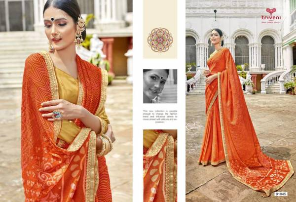 Triveni Gangotri Georgette Printed with Lace Work Designer Party wear Saree Collections