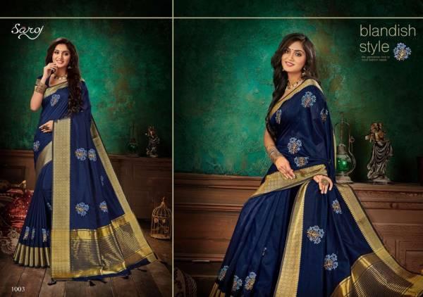 SAROJ ASHWAGANDHA Designer Fancy Casual Wear Soft Vichitra Silk with Banarsi Border and Multi Embroidery Work Saree Collection
