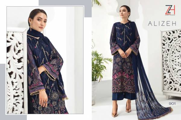 Zaura Hassan Alizeh Latest Heavy Faux Georgette Pakistani Salwar Suits Collection