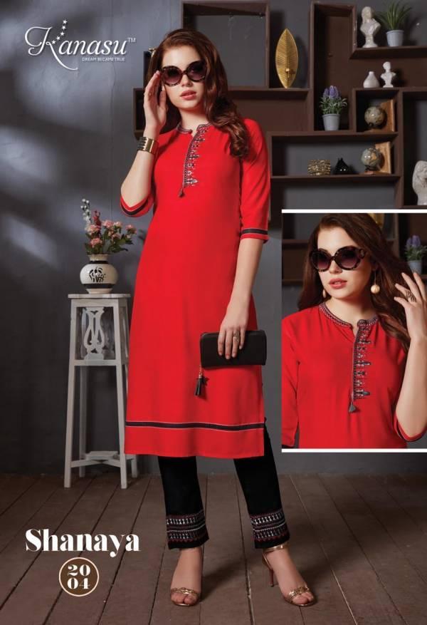 Kanasu Shanaya Latest Designer Party Wear Heavy Rayon Kurtis Collection With Pant