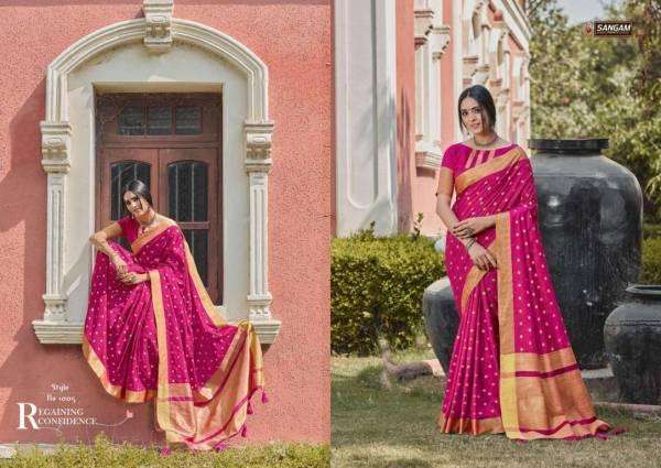 Sangam Tara Sitara Latest fancy Designer Feavy Festive wear Handloom Silk Sarees Collection