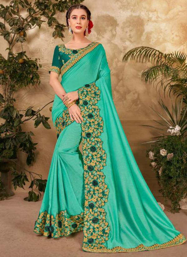 Kalista Fashion Century Vol 3 Vichitra Silk Designer Party Wear Heavy Embroidery Work Saree Collections