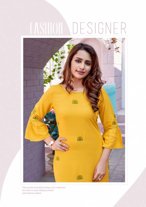 Wooglee Kesar 3 Staright Embroidery Work Party Wear Cotton Kurti With Bottom Collection