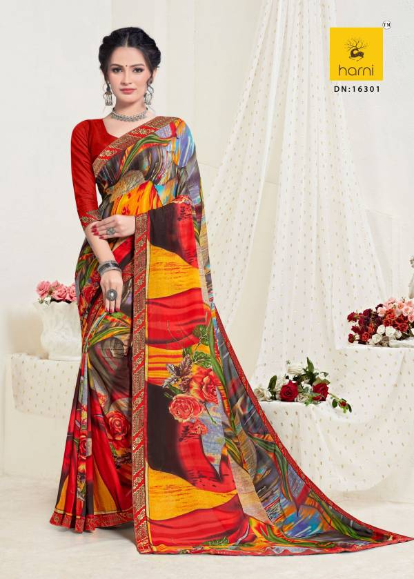 Harni Kashi Latest fancy Casual Regular Wear Printed Georgette Sarees Collection