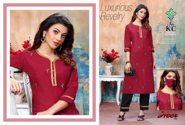 Kc Heer 3 Latest Designer Embroidered Casual Wear Rayon Kurti With Bottom Collection