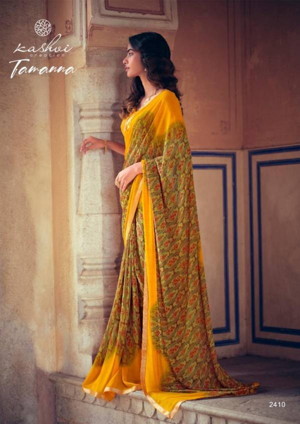 Kashvi Tamanna Silk Latest Fancy Designer Casual Wear Printed Weightless With Border Saree Collection