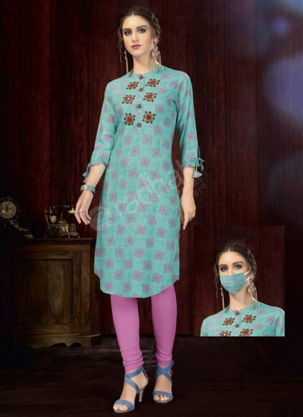 Rukmee Vol 14 Cotton Rayon Embroidered Printed Party Wear Kurti Collection 1450-1459