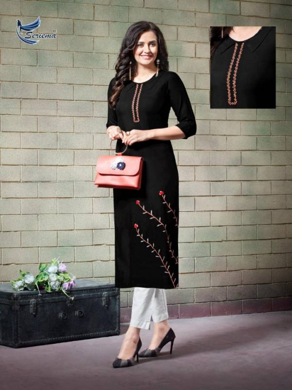 Seriema Remix Heavy Fancy Designer Rayon With Embroidery Casual Daily Wear Kurti Collection