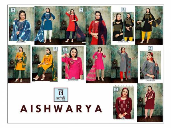 Anjali Aishwariya 3 Latest Designer Pant Style Ready Made Dress Collection With Embroidery Work