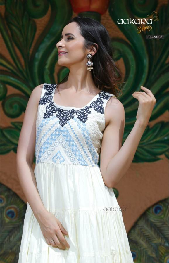 Aakara Designer Fancy Gown Type  Party Wear Kurti With Embroidery Work
