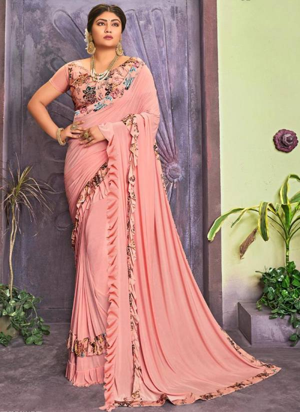 New Designer Lycra Fancy Party Wear Frill Sarees Collection For Women