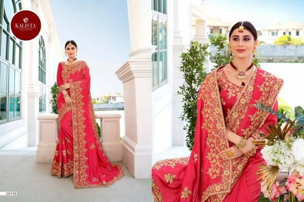 Kalista Sangeet Vol 2 Latest Designer Wedding Vichitra Silk Saree Collection With Embroidery Work