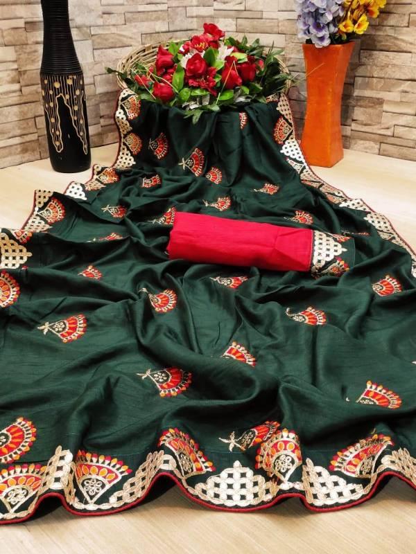 Presenting New Bridal Saree for New Occasion Traditional Ethnic Love Pure Dolla Silk Fabric With Design Embroidered Coding Gotta Patti Work