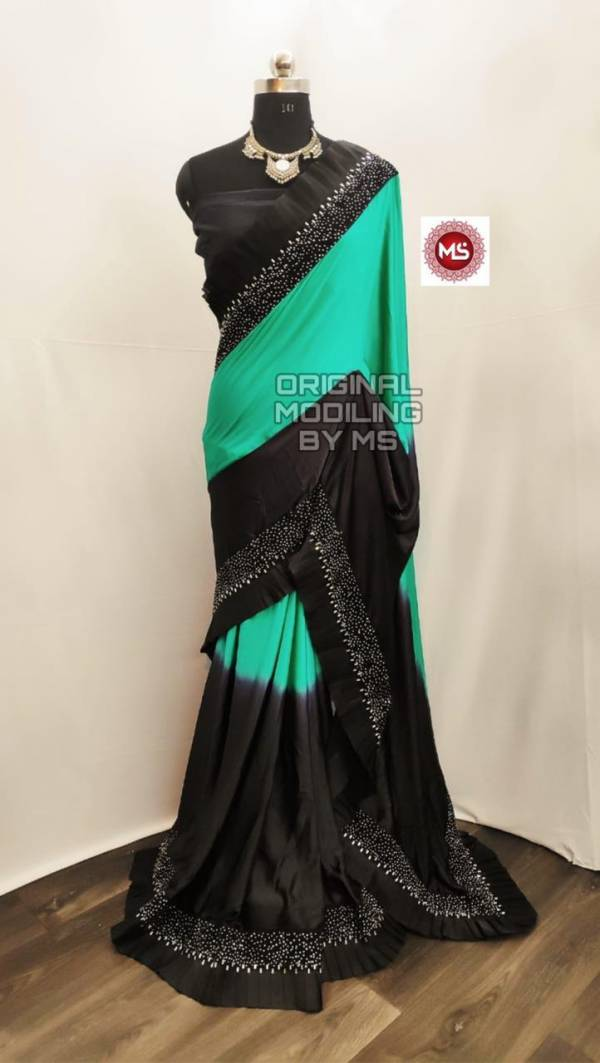Latest Party Wear Saree Collection With Raffle and Diamond Work with Banglori Silk Diamond Work Blouse