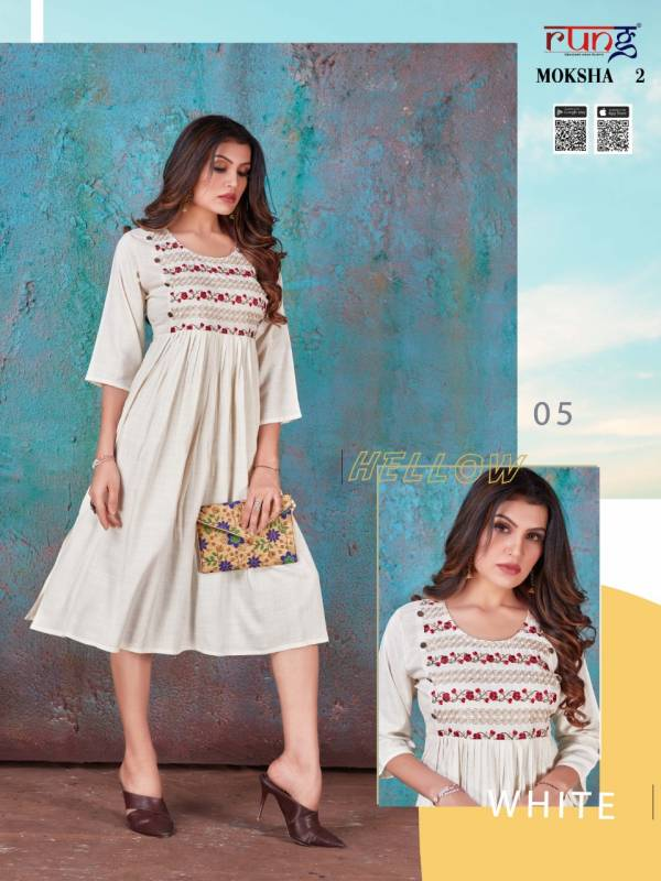 Rung Moksha 2 Latest Fancy Ethnic Wear Rayon Embroidery Work Kurti Collection