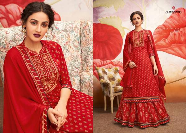 Rangoon Kessi Fabrics has launched Natraj Heavy Rayon with Print Work Top and Lehenga Collections
