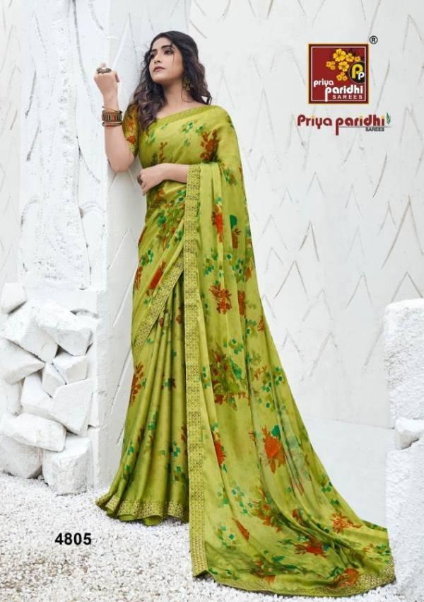 Priya Paridh Shanaya Fancy Printed Daily Wear Moss Fabric With designer Lace Border Saree Collection