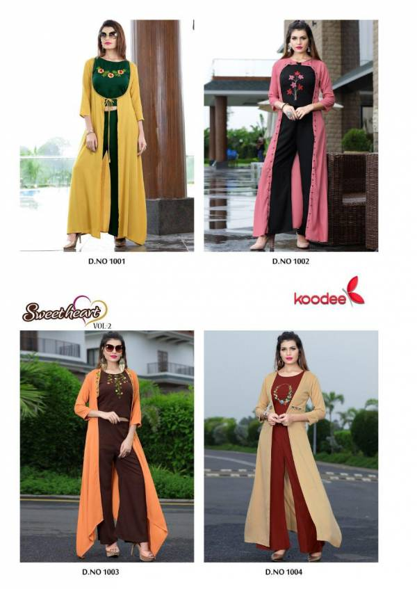 Koodee Sweet Heart Vol-2 Handwork Rayon Designer and Party wear Kurti Collection of Our Plazzo , Shrug & Blouse set Collections